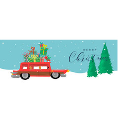 merry christmas cartoon banner funny car gift vector image