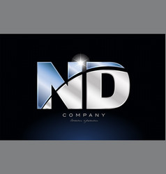 Metal blue alphabet letter nd n d logo company vector