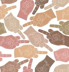 Middle finger hands seamless pattern background vector image