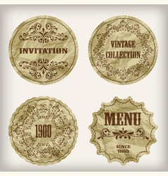 paper cut golden labels vector image