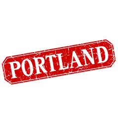 Portland red square grunge retro style sign vector