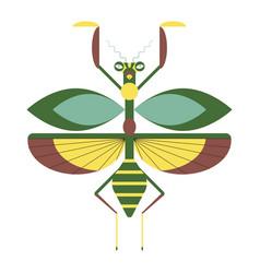 Praying mantis icon in geometric flat style vector