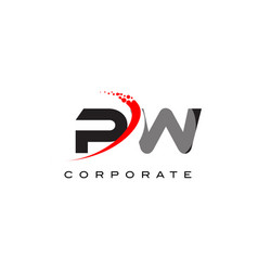 Pw modern letter logo design with swoosh vector
