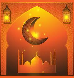 ramadan kareem abstract window with islamic vector image