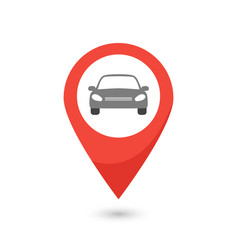 Red map pointer with car icon vector