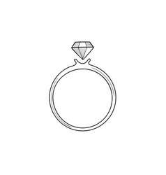 ring with brilliant jewel with gemstone diamond vector image