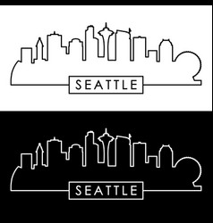 Seattle skyline linear style vector