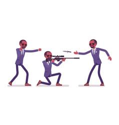 secret agent black man gentleman spy of vector image