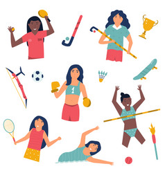 set girl athletes doing sport flat vector image