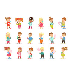 set of little boys and girls drinking cocktails vector image