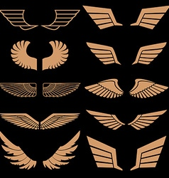 Set of wings in Gold style wings vector image