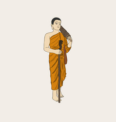 shaved buddhist monk full-length vector image
