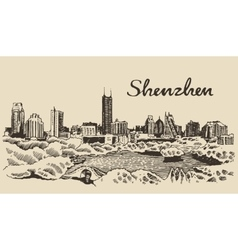 Shenzhen skyline hand drawn vector image