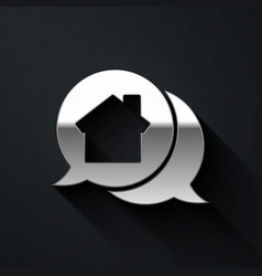 Silver real estate message house in speech bubble vector