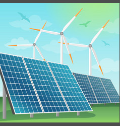 Solar batteries and windmills vector