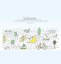 thin line leisure poster banner template vector image