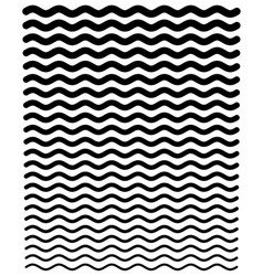 Thinner and thicker wavy zig-zag horizontal line vector