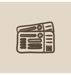 Tickets sketch icon vector