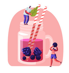 Tiny people put mint leaf and berries to big glass vector
