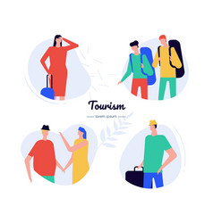 tourism - flat design style characters set vector image