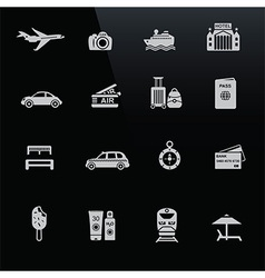 Travel icons white on black screen vector image