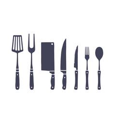 vintage kitchen set set meat cutting knife vector image