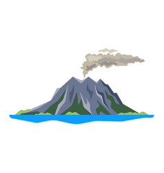 Volcano eruption with smoke ashes isolated on vector