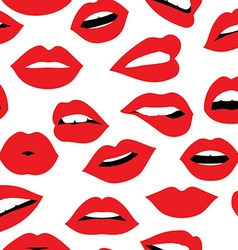 Woman red lipstick kiss seamless pattern design vector image