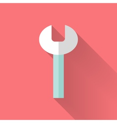 Wrench flat icon over pink vector