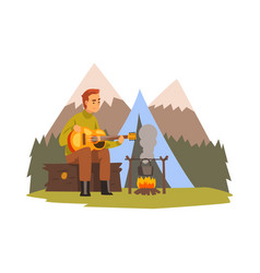 young man playing guitar summer mountain vector image