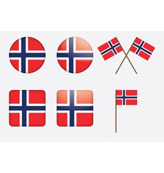badges with Norwegian flag vector image vector image