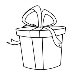 christmas gift box bow decoration icon vector image vector image