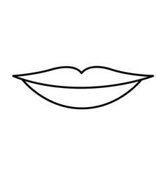 monochrome contour of sensual lips vector image vector image