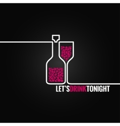 wine bottle glass line design background vector image vector image