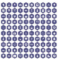100 school years icons hexagon purple vector image
