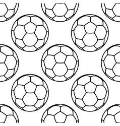 Football or soccer balls outlines seamless pattern vector image