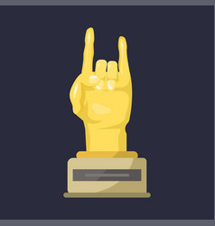 gold rock star trophy music hand note best vector image