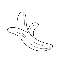half peeled banana line icon vector image vector image