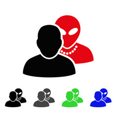 Human alien contacts flat icon vector