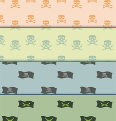 Seamless pattern on pirate theme background set vector image