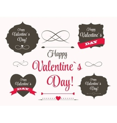 St Valentine Days Labels Elements Arrows in Retro vector image