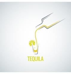 Tequila shot bottle glass menu background vector