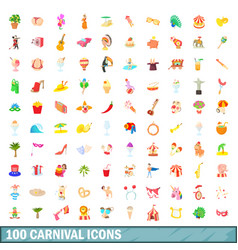 100 carnival icons set cartoon style vector image