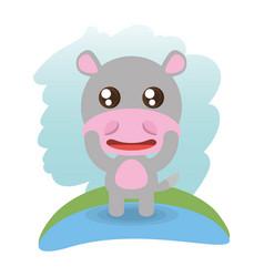cute hippopotamus animal wildlife vector image