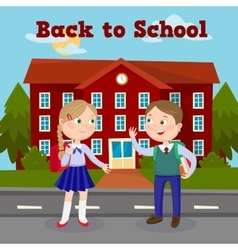 Education Concept with School Building and Pupils vector image vector image