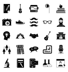 undergraduate icons set simple style vector image vector image