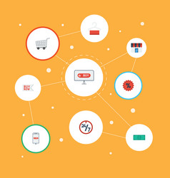 flat icons purchase percentage shop and other vector image vector image