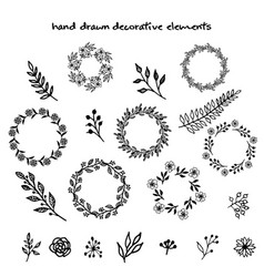 hand drawn decorative elements vector image vector image