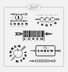 outline label set with arrow vector image