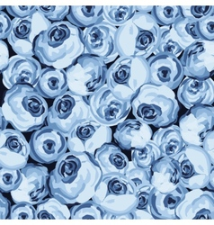 Painted flower seamless pattern with blue roses vector image